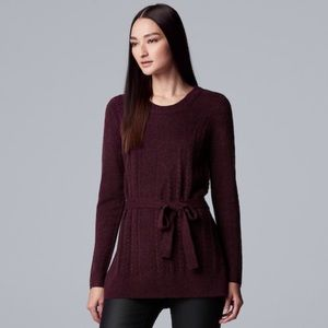 Tie-Front Chenille Tunic Sweater